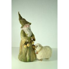 Large Woodland Gnome With Golden Acorn Garland by all4fiberarts