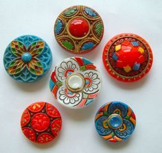 6 Vintage Eye-Popping Brightly Painted Czech Glass Buttons