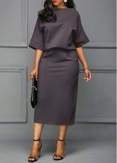 Pre-Sale Opportunity on New Arrivals for Women's Fashion / Double-Layered Half Sleeve Boat Neck Women's Bodycon Dress Elegant Dresses, Sexy Dresses, Dresses With Sleeves, African Fashion Dresses, Fashion Outfits, Womens Fashion, Fashion Top, Fashion 2018, Fashion Brands