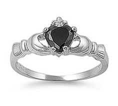 Sterling Silver Claddagh Black Heart CZ Ring