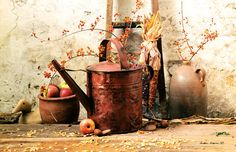 New Primitive Antique Crock Watering Can Apples Bittersweet Fall Floor Mat Rug #Country