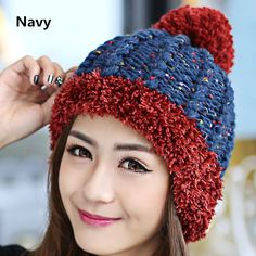 Knit beanie hats for women Hairball winter hat