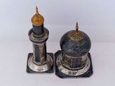 Iraqi Niello silver salt and pepper made for the New York world fair 1939 (1)
