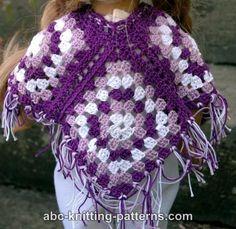 ABC Knitting Patterns - American Girl Doll Granny Square Poncho.