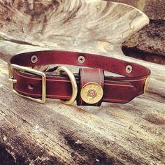 Brown Leather Shotgun Shell Dog Collar