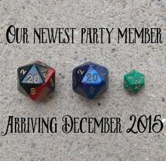 Geek Pregnancy Announcement Reveal - dnd D&D dungeons and dragons role playing d20 dice