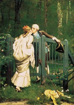 The kiss, Auguste Serrure (1825-1903) -