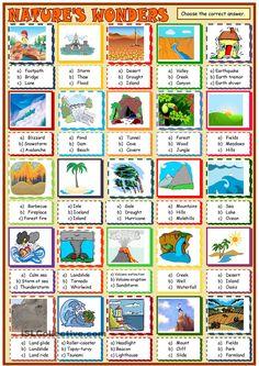 Natures wonders:multiple choice activity 1 ESL worksheet. ESL worksheet of the day by sylviepieddaignel. April 9, 2015