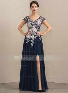 A-Line V-neck Floor-Length Chiffon Lace Mother of the Bride Dress With  Split Front (008164059) 70ad3481637b