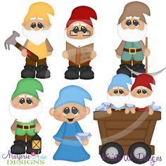 Working Dwarfs~SVG-MTC-PNG plus JPG Cut Out Sheet(s) Our sets also include clipart in these formats: PNG & JPG