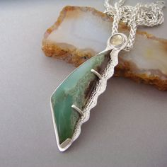 Ocean Wave - Chrysoprase Necklace - Sterling Silver - Ombre Green - Lemon Quartz Sun - Seafoam Green - Statement Necklace