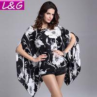 Mujer blusas 2015 verano estilo Sexy Floral impresión grande más el tamaño de la Blusa Beach Coverup Shirt Tops Blusa Feminina Ropa Mujer 40294