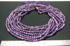3strands  natural amethyst plain ball by 3yes on Etsy