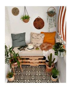 Pallet Bedframe, Diy Pallet Bed, Wooden Pallet Furniture, Pipe Furniture, Furniture Design, Modern Bohemian Decor, Small Balcony Decor, Balcony Decoration, Apartment Balcony Decorating