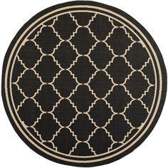 Safavieh Courtyard Black/Cream Traditional Indoor/Outdoor Rug (6'7 Round) #Safavieh