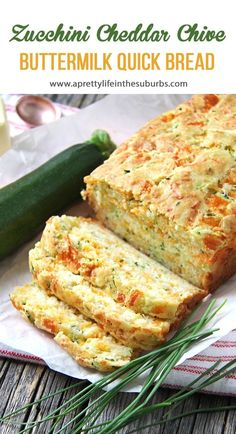 Zucchini, Cheddar Cheese & Chive Buttermilk Quick Bread is a great addition to your dinner table! In about 1 hour you can have fresh baked bread to serve alongside your soups, stews or casseroles. Zucchini Cheese, Zucchini Bread Recipes, Quick Bread Recipes, Breaded Zucchini, Zuchinni Bread, Garlic Bread, Cinnamon Zucchini Bread, Cheesy Zucchini Bake, Buttermilk Bread