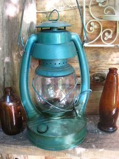 Blue Green deep teal large rustic lantern garden by ImNOTaHoarder, $53.00 #shopetsy #boebot #etsysns