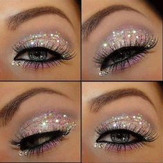 Get a Perfect Party Look with Glitter Eye Makeup.Looking for a dramatic eye makeup idea to get a perfect party look? What about Glitter eye makeup. Eye Makeup Glitter, Glitter Makeup Tutorial, Prom Makeup, Barbie Makeup, Sparkle Makeup, Vegas Makeup, Wedding Makeup, Shimmer Eyeshadow, Makeup Eyeshadow