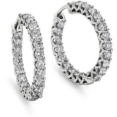 Blue Nile Prong Set Hoop Diamond Earrings in 18k White Gold (3 1/2 ct. ($5,470) ❤ liked on Polyvore
