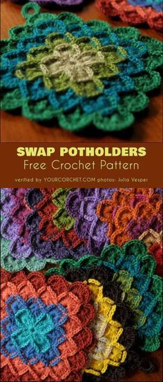 Swap Potholders Free Crochet Pattern These lovely hotpads are about square. You can make them any color you want. Their design is based on Wool Eater Blanket by Sarah Crochet Hot Pads, Bag Crochet, Crochet Potholders, Tunisian Crochet, Crochet Gifts, Crochet Geek, Form Crochet, Crochet Stitch, Filet Crochet