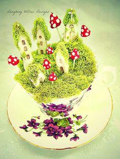 Faerie / Fairy Tea Cup Village-Cottages, Mushrooms, Moss & Fairy Magic