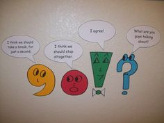 INSTRUCTION: these 4 characters provides a meaningful was for students to remember which punctuation mark to use and when. This is a fun way of teaching students how to use punctuation effectively. Teaching Punctuation, Teaching Writing, Writing Activities, Teaching Tools, Teaching English, Punctuation Humor, Grammar Humor, Teaching Ideas, Punctuation Activities