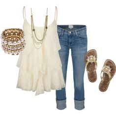 A fashion look from May 2012 featuring lace top, blue jeans and brown flats. Browse and shop related looks.