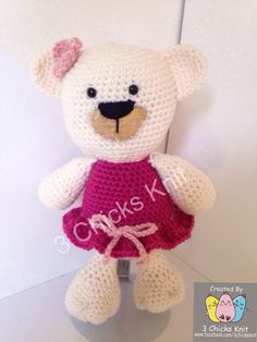 A personal favorite from my Etsy shop (null) Crochet Girls, Hello Kitty, My Etsy Shop, Teddy Bear, Toys, Cute, Pattern, Handmade, Activity Toys
