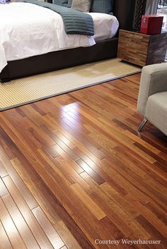 Subtle variations within hardwood flooring can add just the right contrast to amp up rooms. Lyptus hardwood flooring.