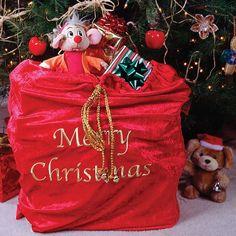 Large Red Velvet Santa Sack - Christmas Elves
