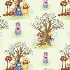 Fat Quarter Winnie The Pooh Characters Peekaboo Scenic Cotton Quiltig Fabric