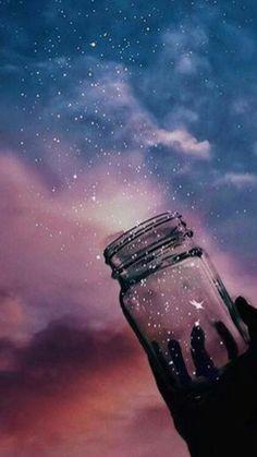 Jar of stars in the night VSCO wallpaper - Wallpaper Iphone Cute, Tumblr Wallpaper, Galaxy Wallpaper, Wallpaper Backgrounds, Aesthetic Pastel Wallpaper, Aesthetic Wallpapers, Artistic Wallpaper, Illustration Inspiration, Night Sky Wallpaper