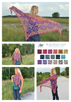 Majestic Skies Crochet Shawl FREE Pattern by Kristin Omdahl While this beautiful crochet motif would be gorgeous in a solid color, Kristin has taken it to another level with 4 gorgeous colors! In this pattern she will show you how to take a square motif, join it together to create a fabric