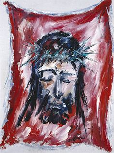 Station VI Saint Veronica wipes the face of the Lord Jesus.