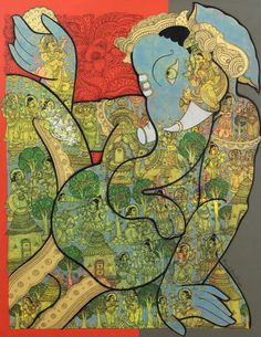 Ramesh´s works focuses on traditional Indian mythology. He mostly paints Lord Krishna, Ganesh, Vishnu & Kamdhenu. He uses the intricate Kalamkari style to draw out stories from the Ramayan. His use of rich colours like red, green, orange & gold adds to richness to the painting. His works have won him various awards. For more details please visit www.studio3india.com