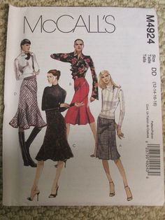 McCalls 4924  Skirts  sizes 12141618 by mungermuffin on Etsy, $10.00
