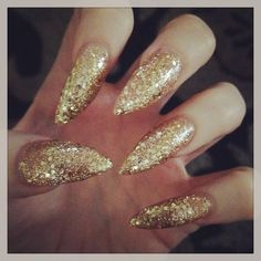 My gold, stiletto nails. Nail Art inspiration ❤ liked on Polyvore featuring beauty products, nail care, nail treatments and nails