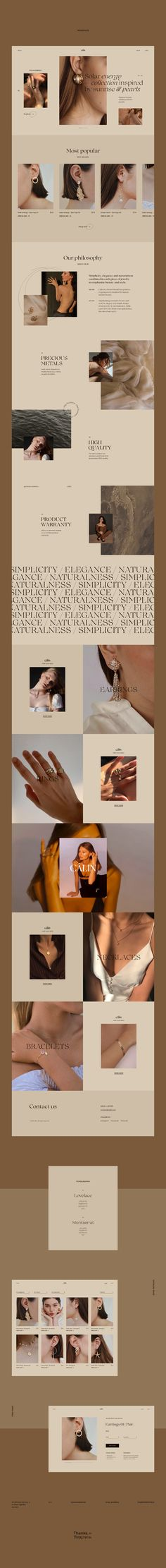 Câlin Jewelry on Behance Web Design Trends, Web Design Projects, Website Layout, Website Design Inspiration, Web Banner Design, Layout Design, Design Design, Ecommerce, Web Design Mobile