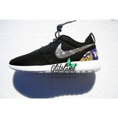 Swarovski Nike Roshe Run W Minnesota Vikings Print Heel Blinged With... ($154) ❤ liked on Polyvore featuring shoes, grey, sneakers & athletic shoes, tie sneakers, women's shoes, grey shoes, holiday shoes, gray evening shoes, gray shoes and print shoes