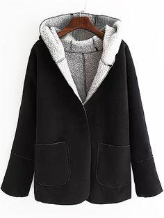 Hooded Pockets Black Coat