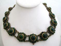 ANTIQUE GREEN ART GLASS CABOCHON BRASS NECKLACE