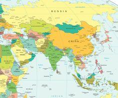 Map of Wast Asia, China, Russia, Mongolia, Japan, South Korea, North ...