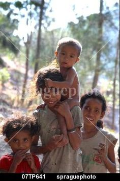 Children of Kefua village, Oecussi-Ambeno, East Timor stock image