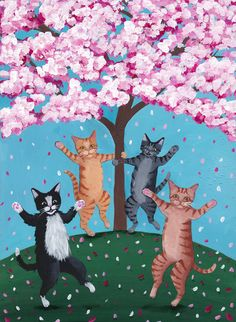 """The Celebration of Spring 2016 Original CAT Folk Art by KilkennycatArt. """"The Celebration of Spring 2016!"""" - Painted with Golden acrylics. -Approx. 10"""" x 7 1/4"""" x 1"""" Piece of pine -Topped with two coats of gloss varnish. -Signed, titled, and dated on the back by Ryan Conners. Hooray, it's spring again! These four happy cats did a little dance around the cherry blossom tree in full bloom. From My Private Collection."""