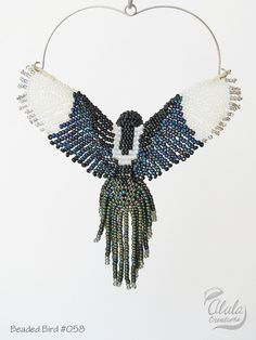 Beaded Bird Suncatcher 3D Bird Ornament Magpie by AlulaCreations
