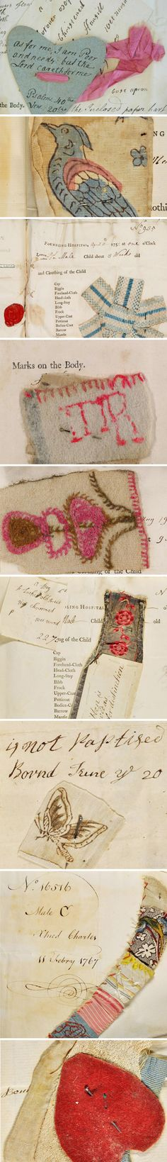 """Threads of Feeling"" ""Mid-18th century thousands of poor women deposited their newborn babies at the Foundling Hospital. The scraps of material left to identify them tell an extraordinary story"""