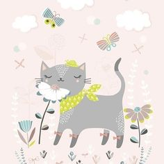 Flora + cats = 😻 If you're a cat lover you definitely must check @florawaycott her account. This inktober she illustrates everyday an adorable cat 💕  #florawaycott #petitelouise #cat #postcard #pastel #flowers #petitelouisewholesale #kaartje #kidsdeco #catlover