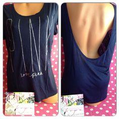 NEW Victoria's Secret PINK T Shirt Low Back blue silver swim cover up NWT M/L #VictoriasSecret #GraphicTee