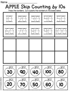 Skip counting by tens worksheet - easy NO PREP activity for kindergarten math - counting and cardinality common core unit - FREE printables and worksheets - counting by 10s to 100