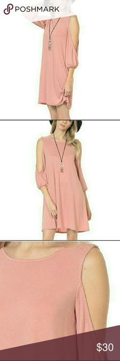 Dusty Rose Open Arm Dress Dusty rose open arm dress is soft and feminine. 65% modal/35% polyester. NWT. BOUTIQUE.  (#BF62) Bellino Clothing Dresses Midi